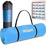POWRX Gymnastikmatte | Yogamatte Premium inkl. Tragegurt + Tasche + Übungsposter GRATIS I Hautfreundliche Fitnessmatte TÜV Süd bestätigt Phthalatfrei 190 x 60, 80 oder 100 x 1.5cm I Farben Auswahl